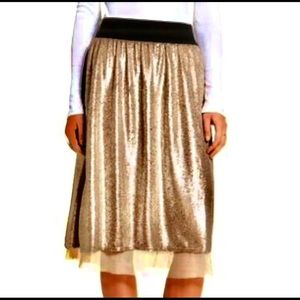 Free People NWT Taupe Sequin Skirt w Mesh, Small